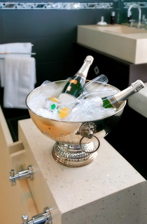 interior of bath room with champagne bowl  photo