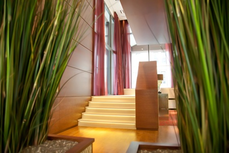 hotel lobby: stairs to enter in hotel lounge