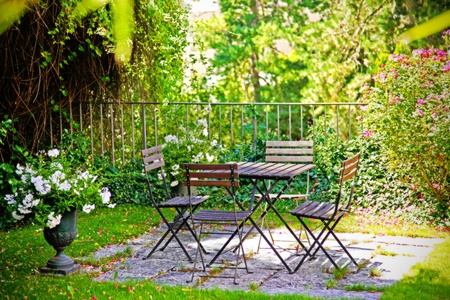 cottage fence: summer terrace in  home garden
