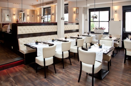 restaurant interior: cafe in stylish decoration
