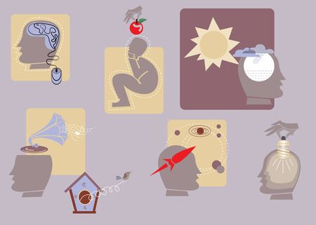 icons of thinking process Vector