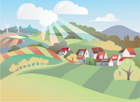 mountain meadow: seasonal landscape illustration  Illustration