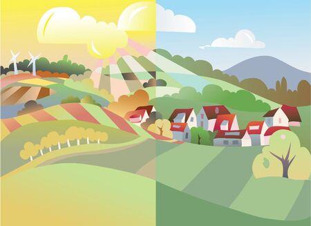 non    urban scene: autumn in village  Illustration