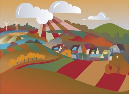 non urban: seasonal landscape illustration  Illustration