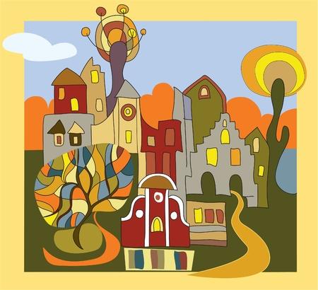 modern huis: de herfst in de stad Stock Illustratie