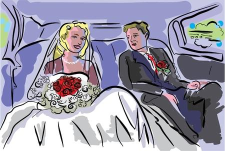 limo: wedding pair inside car