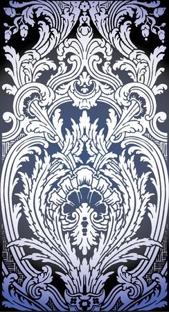 one patron of seamless pattern of Luis XIV bedroom  Illusztráció