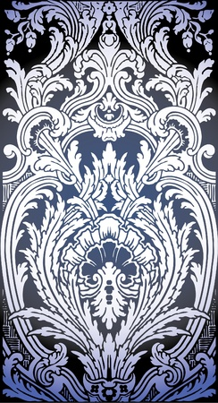 ornamental background: one patron of seamless pattern of Luis XIV bedroom  Illustration