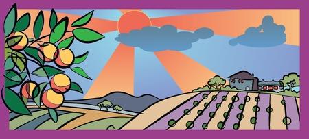 de herfst en de oogst in het land Stock Illustratie
