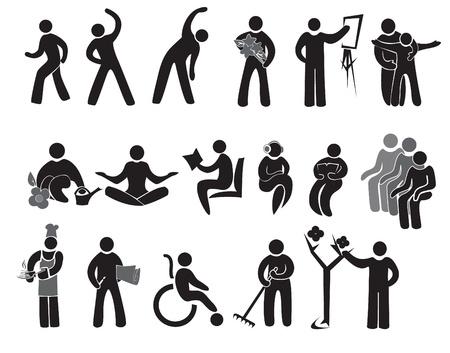 pensioen: Iconen van de activiteiten van de mensen na 65 +