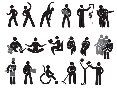 senior exercise: Icons of activities of people after 65+