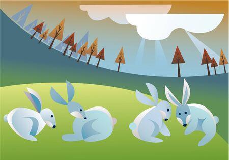 summer rabbits Stock Vector - 10634572