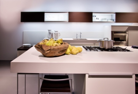 modern kitchen with still life of quince  photo
