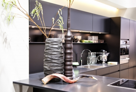 stainless steel kitchen: interior of new kitchen with modern vases  Stock Photo