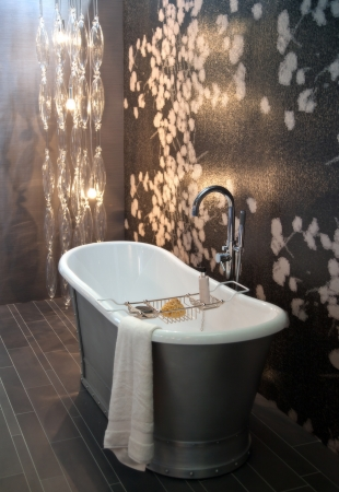 wash basin: interior of  bath room with modern light Stock Photo