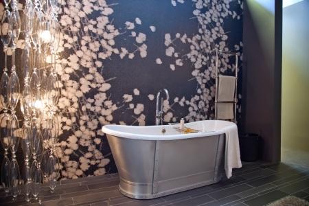 interior of classic bath room with evening light  photo