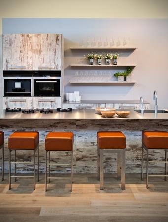 wooden design of modern kitchen photo