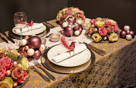 holiday decoration on party table in gentle colors Stock Photo - 11276666