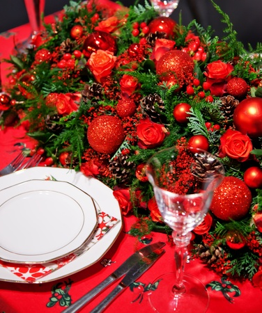 holiday decoration on table in typical christmas colors photo