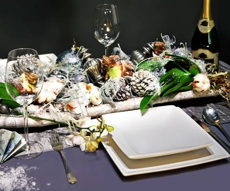 winter decoration on party table in nature style photo