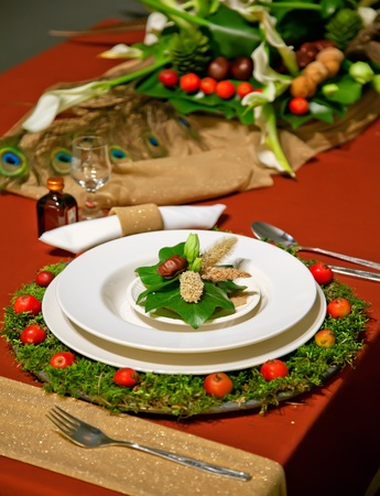 holiday decoration on party table in bright colors photo