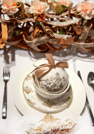 holiday decoration on party table in nature colors photo