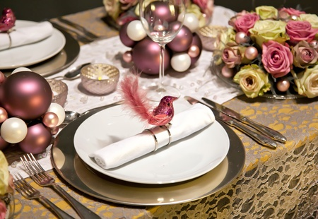 holiday decoration on party table in gentle colors photo