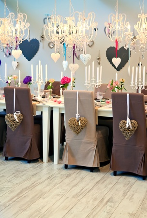 interior of dinning room with heart decoration photo