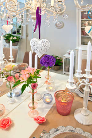 decoration by hearts  in dinner room photo