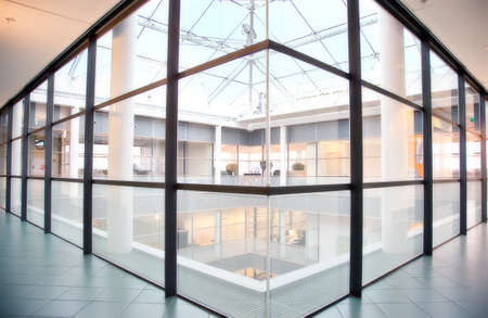 space area: glass floor in interior of corporate building