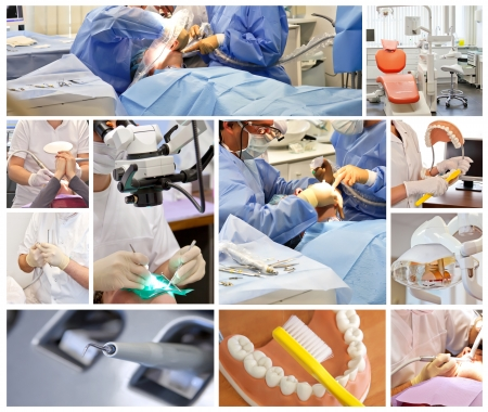 technology collage: collage from photos of dentist clinic
