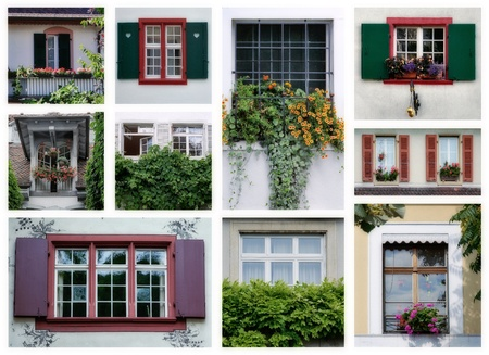 collage of typical Swiss windows photo