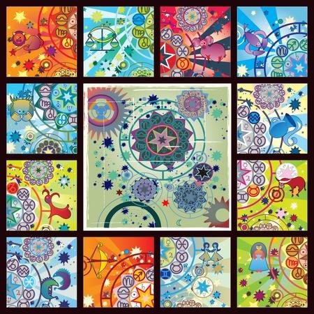 constelaciones: cartel de todas las zodiacs Foto de archivo