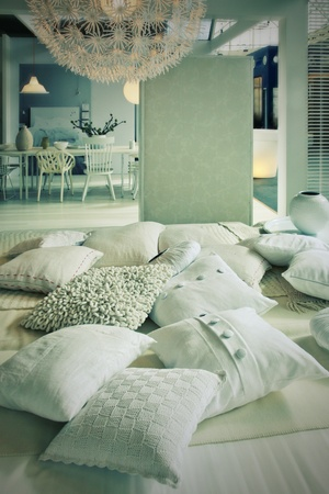 textile design: home interior  with pillows in living room