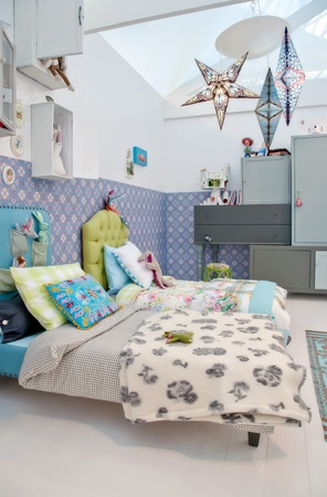 kids room: design of colorful children room Stock Photo