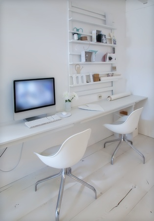 home office desk: designer working place at home with computer