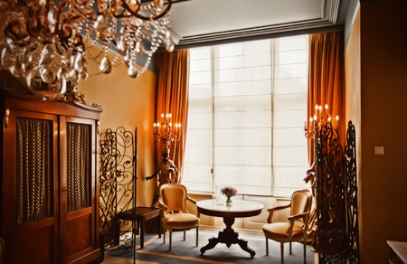 baroque room: luxury hotel room in classic style