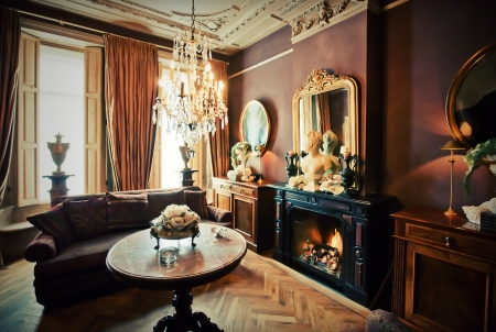 antique furniture: luxury hotel-lounge room in classic style Stock Photo