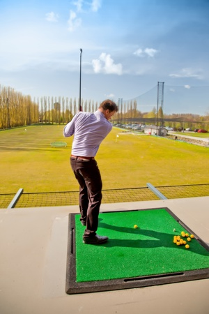 player by golf training for beginners Stock Photo - 13644818