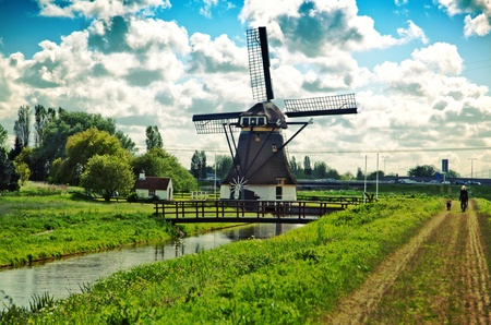 typical dutch landscape in spring day  photo
