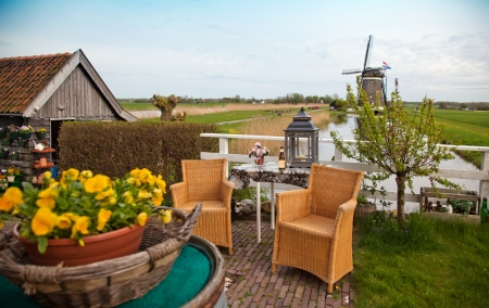home dutch yards with windmills outside  photo