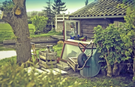 retro stylish photo of old dutch country-side  house photo