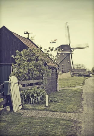 farm house: retro stylish photo of old dutch country-side  with windmill