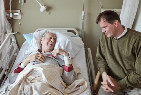 healthcare visitor: visitor of recovery room by hospital Stock Photo