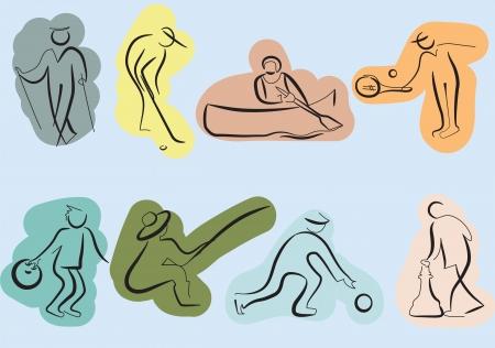 actividad fisica: Sketch de los iconos de la actividad deportiva de las personas mayores