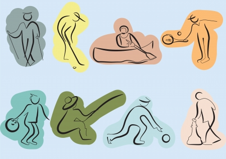 Sketch icons of sport activity of seniors Vector