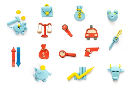 crime and finance plasticine icons  photo