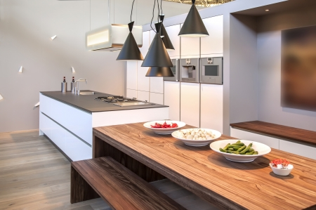 interior of kitchen with modern lamps photo