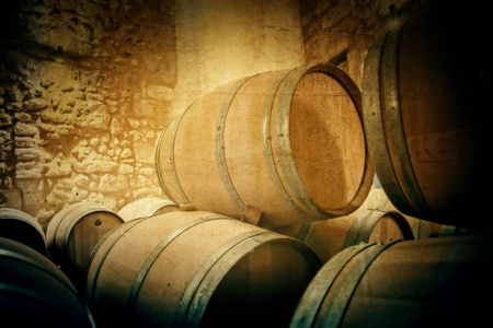 France wine barrels in old winery photo
