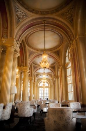 restaurant interior: classic interior with golden columns